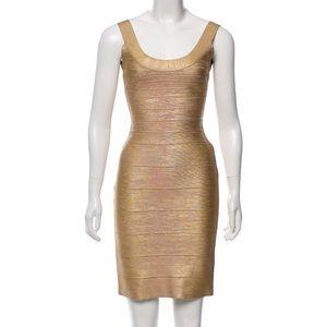 Herve Leger Gold Metallic Scoop Neck Bandage Dress